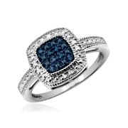 JewelersClub 1/10 Carat T.W. Blue And White Diamond Sterling Silver Ring