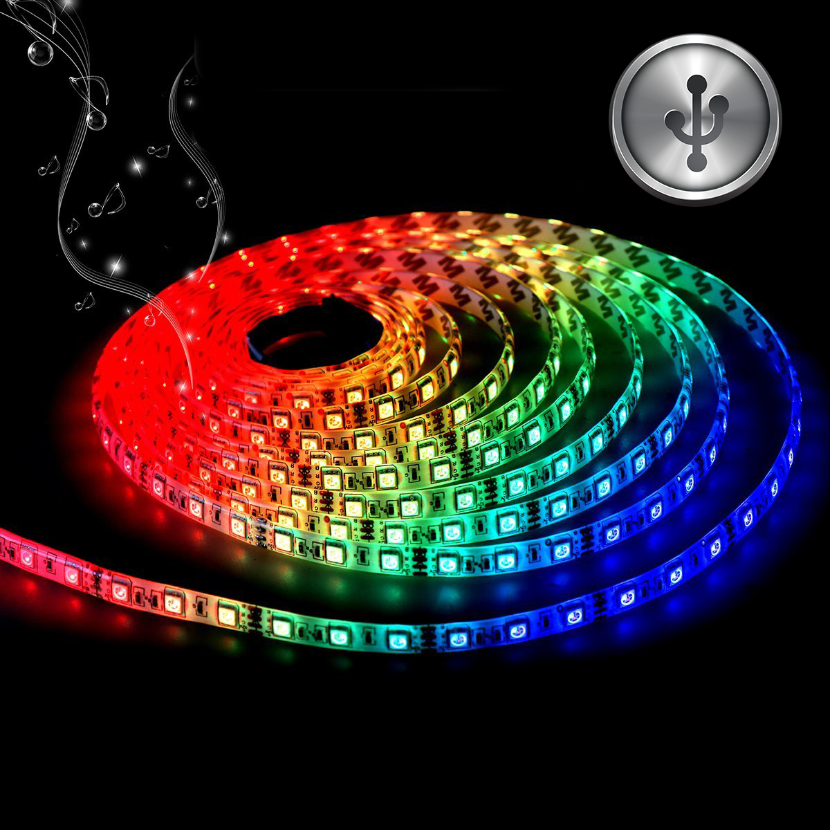 TSV LED TV Backlight, USB LED Strip Lights 3.2t 1M 5050 RGB Light Strips Kit Bias Lighting with Remote Control for HDTV, Flat Screen TV Accessories Desktop Monitors PC, Multi Color
