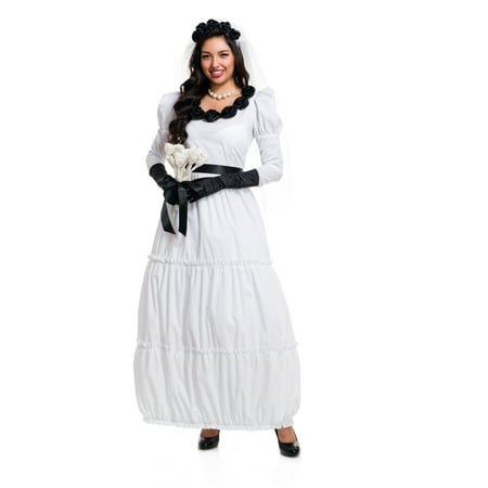 Zombie Bride Halloween Outfits (White Black Monster Bride Zombie Dress With Gloves Adult)