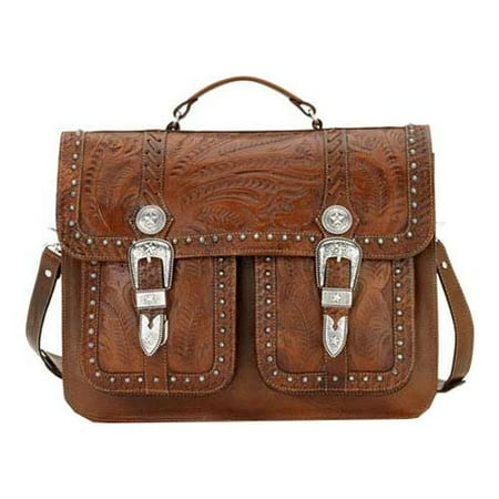 American West Retro Romance Travel 2 Compartment Briefcase Antique Brown OSFA American West Leather Briefcase