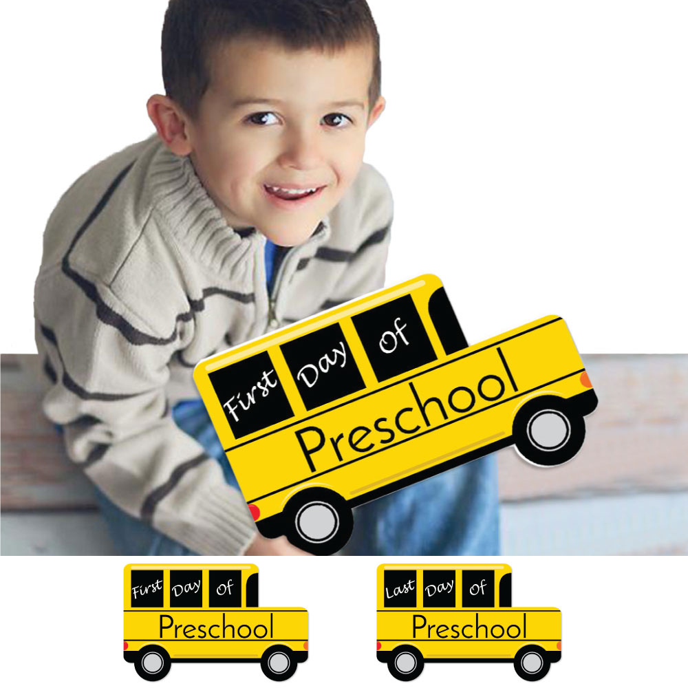 Preschool FIRST and LAST Day of School Bus Signs Back To School Photo Props by Big Dot of Happiness, LLC