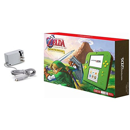 Nintendo 2DS Bundle: Nintendo 2DS with the Legend of Zelda Ocarina of Time 3D - Link Edition and Tomee AC adapter