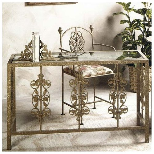 Grace Collection 49'' W Glass Insert Garden Writing Desk