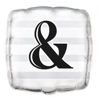 "Foil Square ""&"" Wedding Balloon, 18 in, Silver, 1ct"