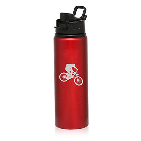 25 oz Aluminum Sports Water Travel Bottle Mountain Biker Bike (Red)](Aluminum Water Bottles)