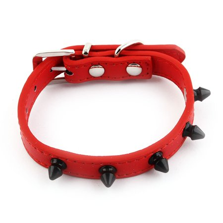 Metal Pin Buckle Adjustable Belt Rivet Decor Pet Puppy Dog Collar Red Size (Puppy Dog Pin)