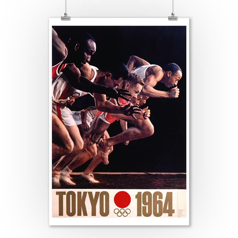Tokyo 1964 (runners) Vintage Poster (artist: Kamekura) Japan c. 1963 (9x12 Art Print, Wall Decor Travel Poster)