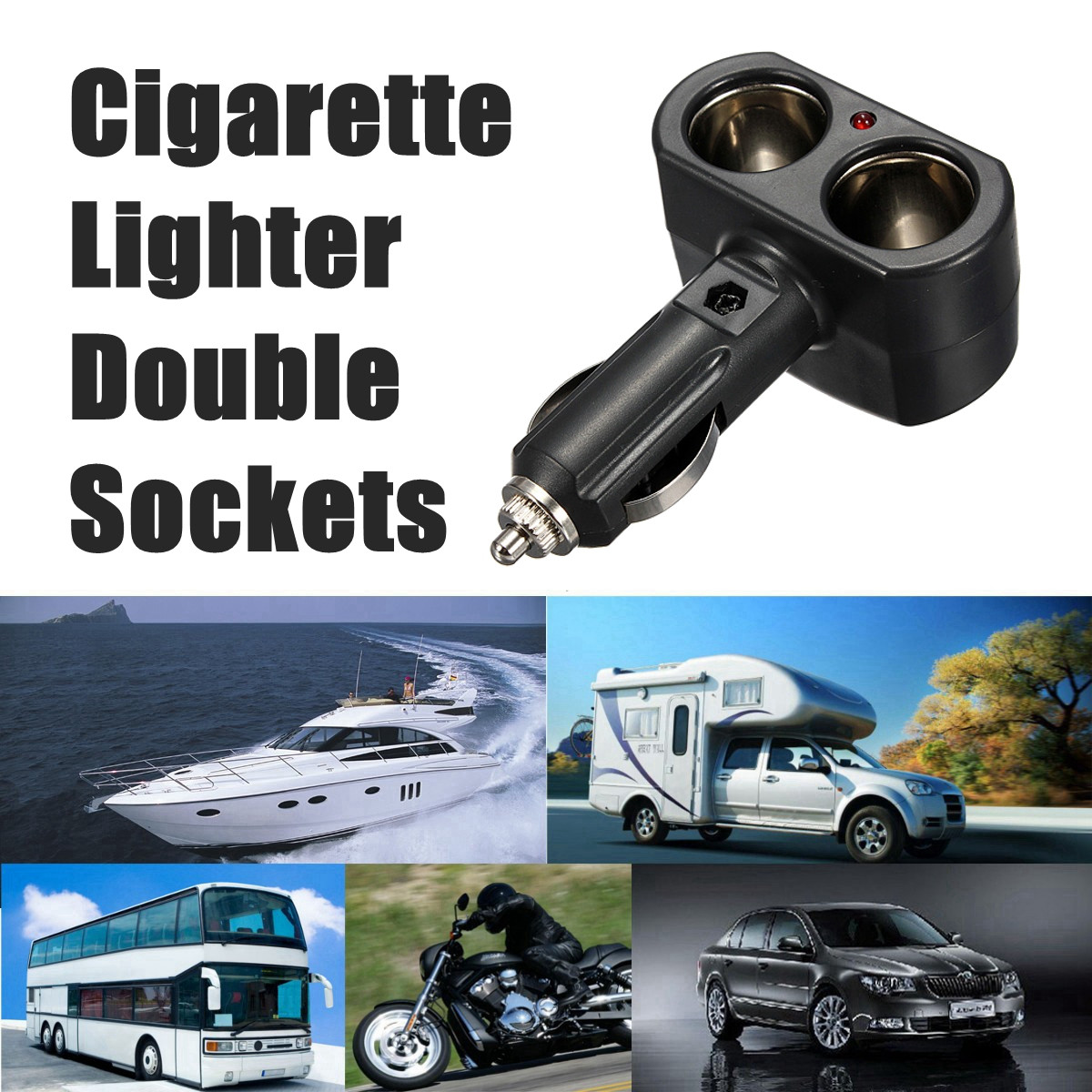 Dual Car Cigar Cigarette Lighter Socket Adapter Charger Two Ports PLUG SOCKET