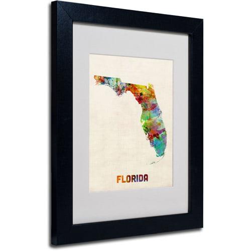 """Trademark Fine Art """"Florida Map"""" Matted Framed Art by Michael Tompsett, Black Frame"""