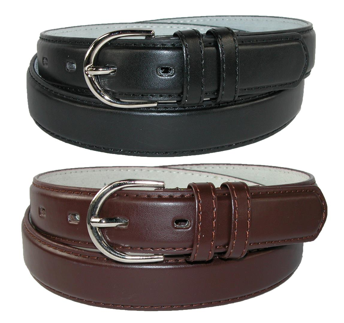 CTM��  Women's Leather 1 1/8 Inch Dress Belt (Pack of 2 Colors)