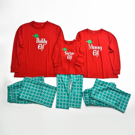 Tailored Christmas Women Mom Printed Letter Top+Lattice Pants Xmas Family Clothes Pajamas