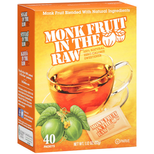 Monk Fruit In The Raw 100% Natural Zero Calorie Sweetener, 40 count, 1.12 oz