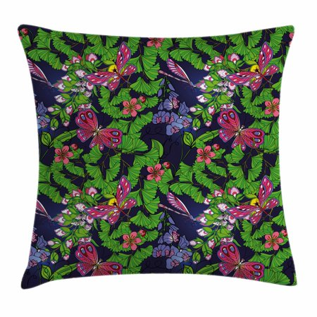 - Flower Throw Pillow Cushion Cover, Tropical Vivid Petal Leaf Butterfly Dragonfly Forest Artwork, Decorative Square Accent Pillow Case, 16 X 16 Inches, Navy Blue Fern Green Pink Purple, by Ambesonne