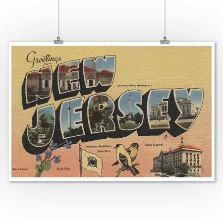 Greetings from New Jersey (State Capital/Flower/Bird) (9x12 Art Print, Wall Decor Travel (New Jersey State Bird Flower)