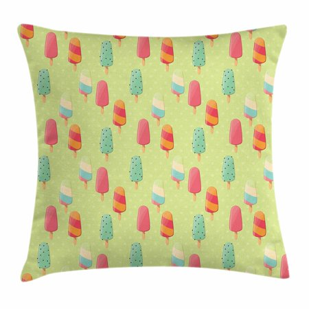 Ice Cream Throw Pillow Cushion Cover, Delicious Sweet Treats Colorful Summer Theme with Retro Influences Childhood, Decorative Square Accent Pillow Case, 16 X 16 Inches, Multicolor, by Ambesonne - Sweet 16 Themes For Summer
