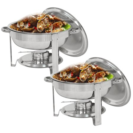 Zimtown 2 Pack 5 Quart Round Chafing Dish Chafer, Food Grade Stainless Steel Catering  Buffet Warmer Set Food Warmers, w/Water Pan, Food Pan, Alcohol Furnace and Lid, for Weddings Parties (Five Star Dishes Food For Thought Bitches)