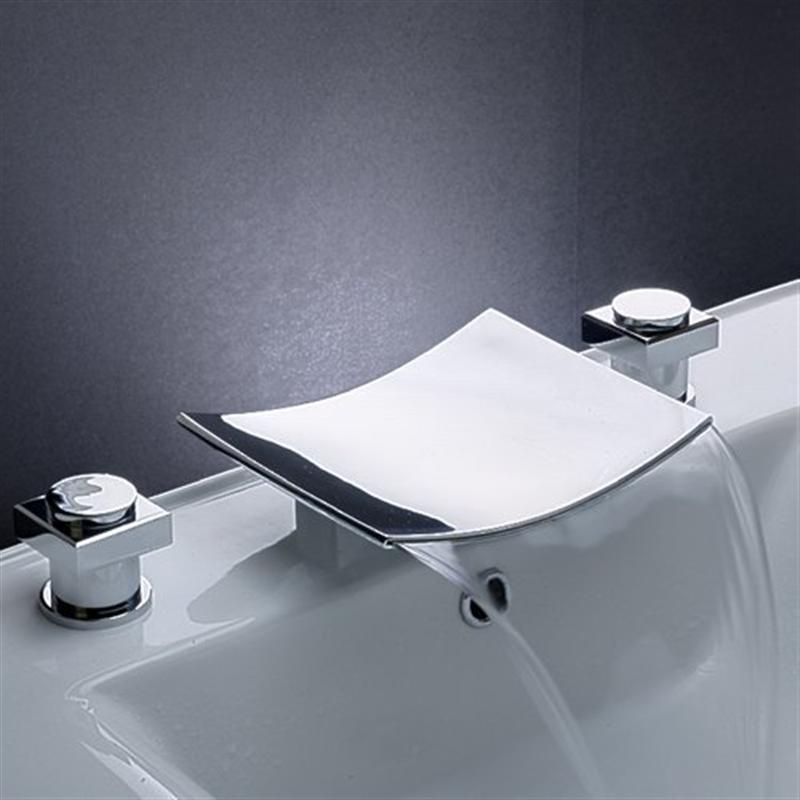 Ouku Solid Brass Widespread Flexible Bathroom Bath Tub Faucet Chrome  Waterfall Bath Shower Faucets Vessel Sink