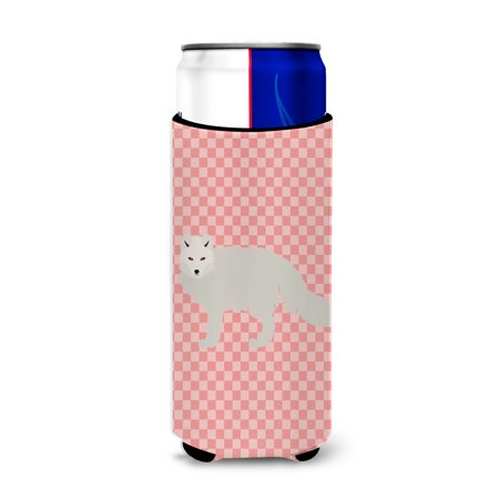 White Arctic Fox Pink Check Michelob Ultra Hugger for slim cans BB7877MUK