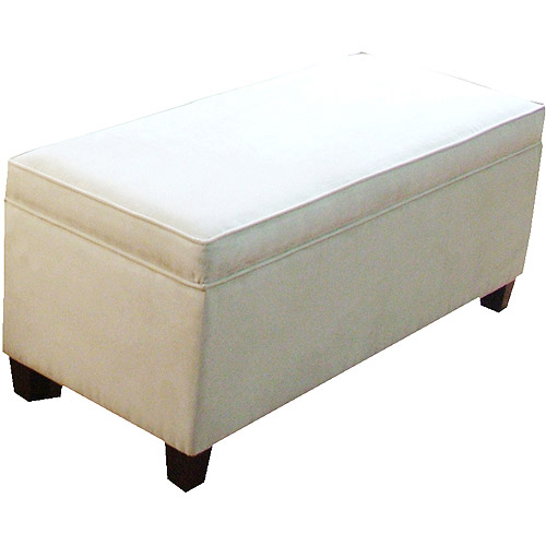 HomePop End Of Bed Storage Bench, Cream