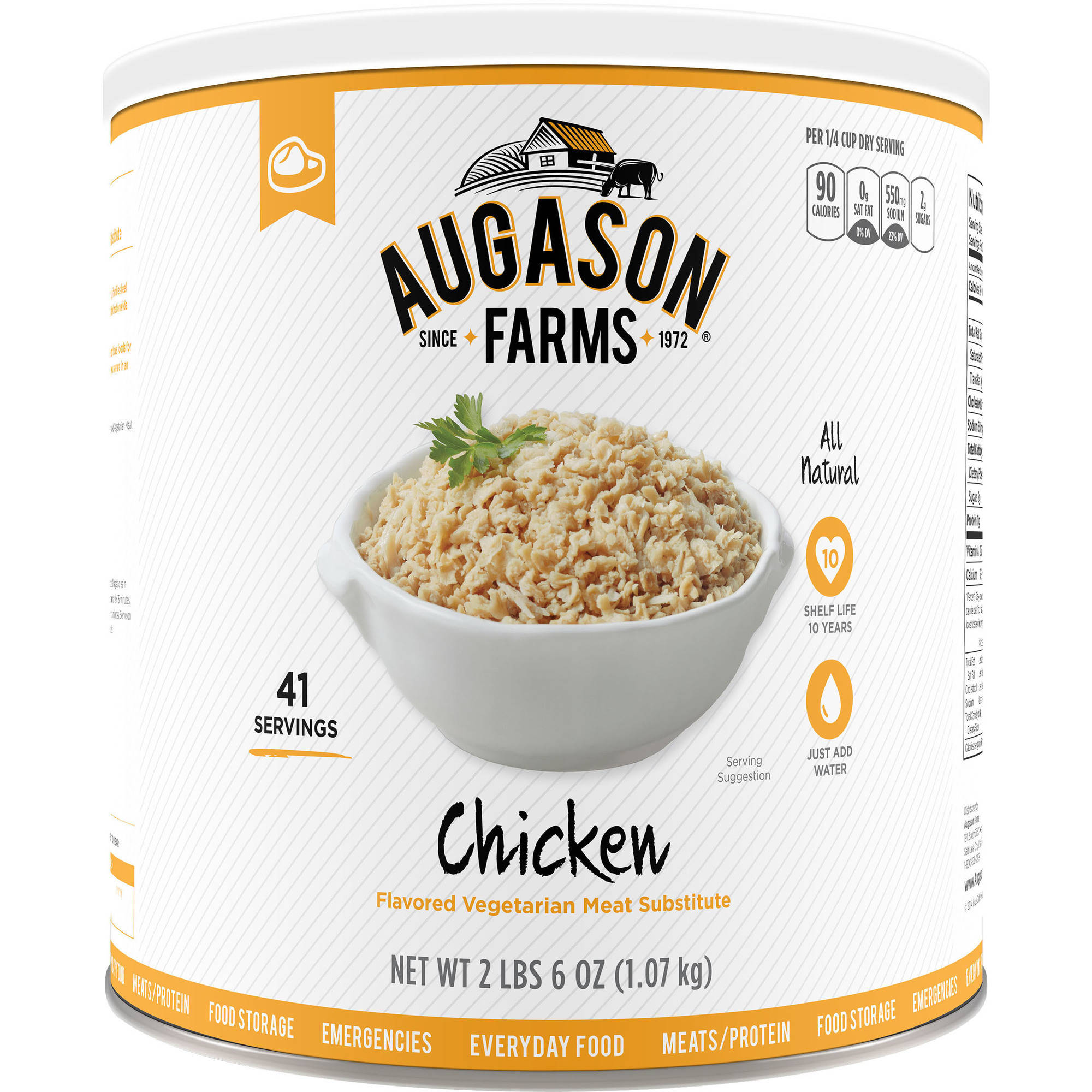 Augason Farms Emergency Food Chicken Vegetarian Meat Substitute, 38 oz