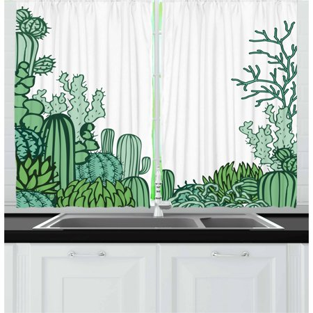 Cactus Curtains 2 Panels Set, Arizona Desert Themed Doodle Cactus Staghorn Buckhorn Ocotillo Plants, Window Drapes for Living Room Bedroom, 55W X 39L Inches, Green Pale Green Seafoam, by Ambesonne