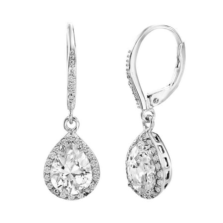 - Cubic Zirconia Sterling Silver Teardrop Earrings