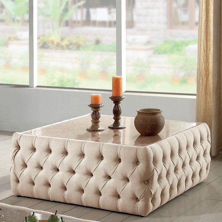 - Furniture of America Racquelle Button Tufted Faux Marble Top Square Coffee Table