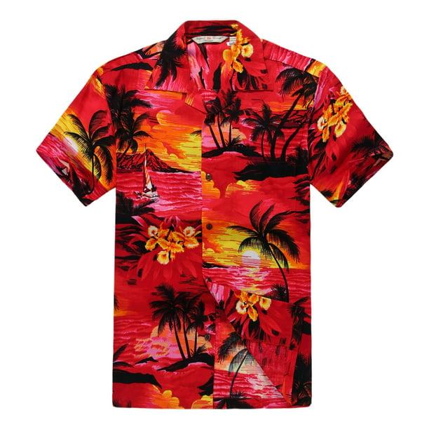 Men's Hawaiian Shirt Aloha Shirt 3XL Sunset Red