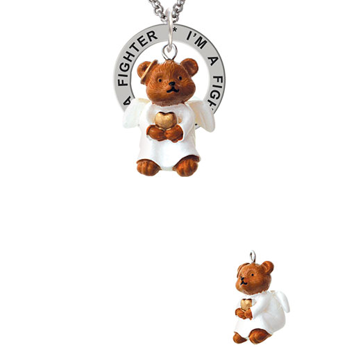Resin Angel Bear I'm a Fighter Affirmation Ring Necklace