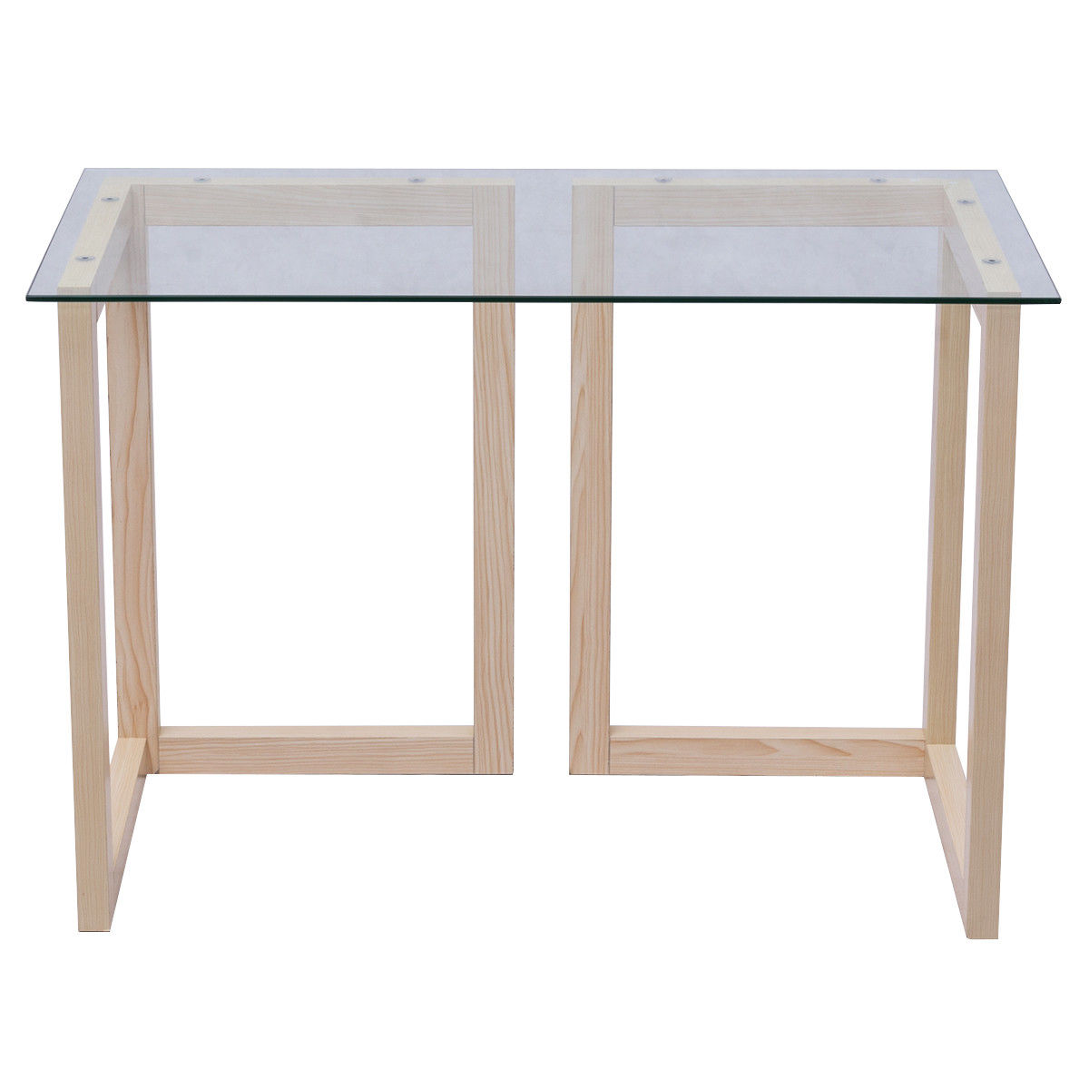 Gymax 44'' Tempered Glass Top Console Desk Sofa Accent Table Wood Entryway Furniture by Gymax
