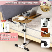 Portable Adjustable Rolling Laptop Cart, Mobile Desk Notebook with Angle-and-Height-Adjustable Split-Top, Side Table, 360 Swivel and 4 Lockable Casters for Sofa Bed Table Stand