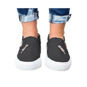 Womens Canvas Shoes Vintage Flat Slip On Sneakers Casual Stitching Loafers