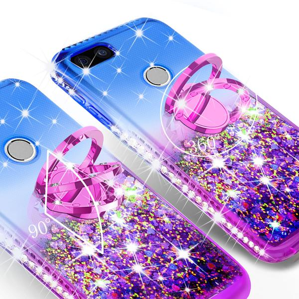 Liquid Glitter Phone Case Kickstand for Google Pixel 3 Case,Ring Stand Liquid Floating Quicksand Bling Sparkle Protective Girls Women for Google Pixel 3 - Hot Pink Gradient - image 4 of 5
