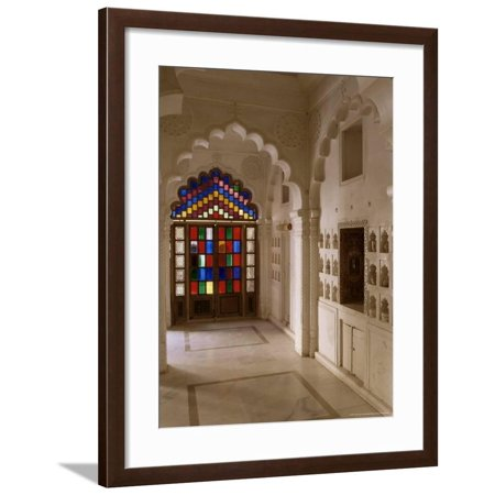 Original Old Stained Glass Windows and Traditional Niches Let into the Walls, Jodhpur, India Framed Print Wall Art By John Henry Claude Wilson