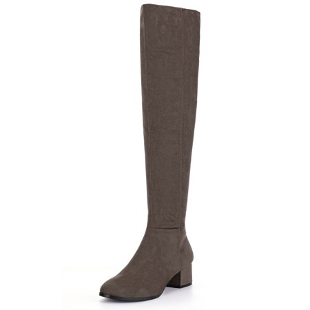 2552aa10391 Unique Bargains Women s Block Heel Round Toe Over the Knee Boots Black (Size  9.5) ...