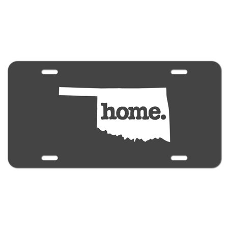 Oklahoma OK Home State Novelty Metal Vanity License Tag Plate - Solid Dark Grey Gray