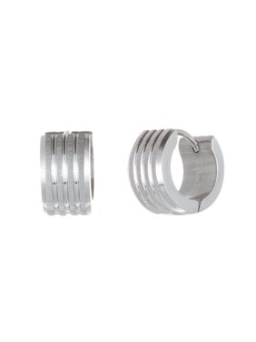 Mens Ribbed Design Stainless Steel Huggie Earring