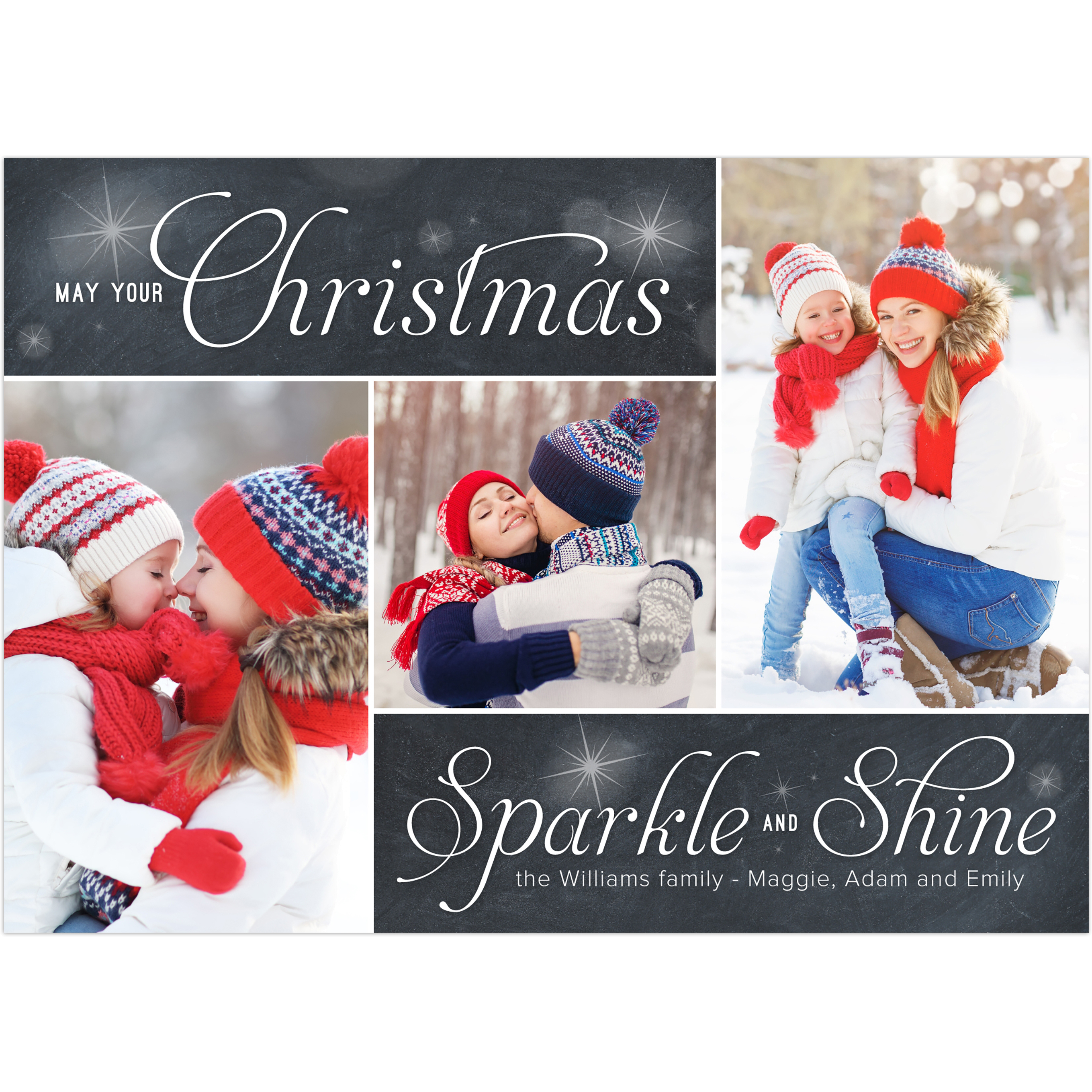 Sparkle and Shine - 5x7 Personalized Christmas Card