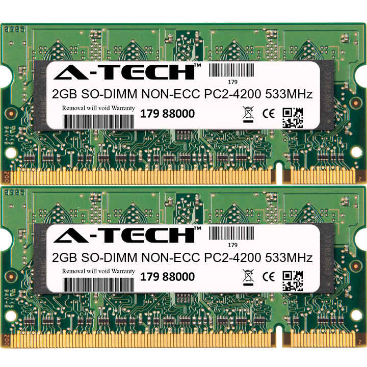 4GB Kit 2x 2GB Modules PC2-4200 533MHz NON-ECC DDR2 SO-DIMM Laptop 200-pin Memory Ram