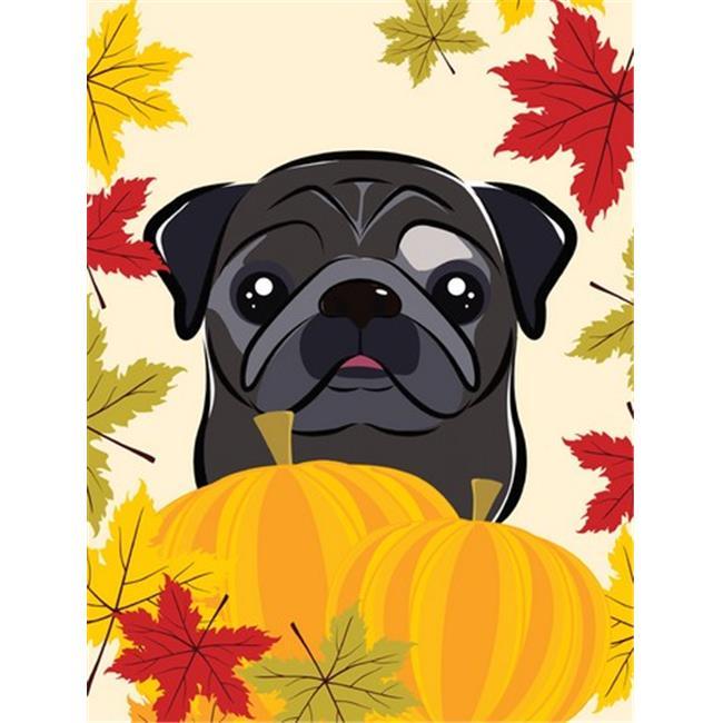 Black Pug Thanksgiving Flag Garden