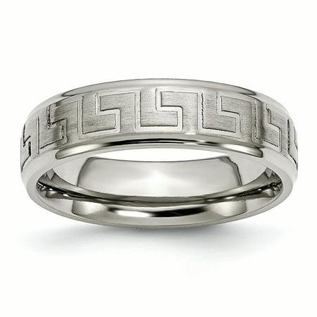 Titanium Ridged Edge Greek Key Design 6mm Satin/Polished Band Ring 7 to 13 Size