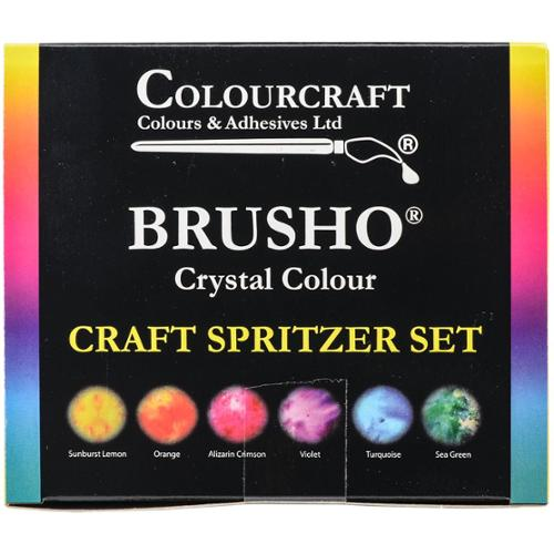 Brusho Crystal Colours Craft Spritzer Set, 6pk