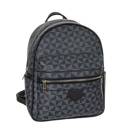 Chiu Poppy (Women Girl Faux Leather Satchel Mini Backpack, POPPY Chic Holographic School Bookbag Waterproof Travel Daypack Modern Flair New Arrive, Black )