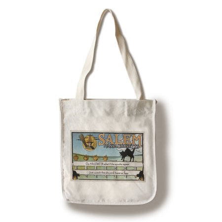 Salem, Massachusetts - Halloween Greeting - Cat on Fence - Vintage Artwork (100% Cotton Tote Bag - Reusable) (Vintage Halloween Cat)