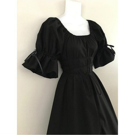 Female's High-Quality Short Petal Sleeve O-Neck Medieval Dress Cosplay Dress
