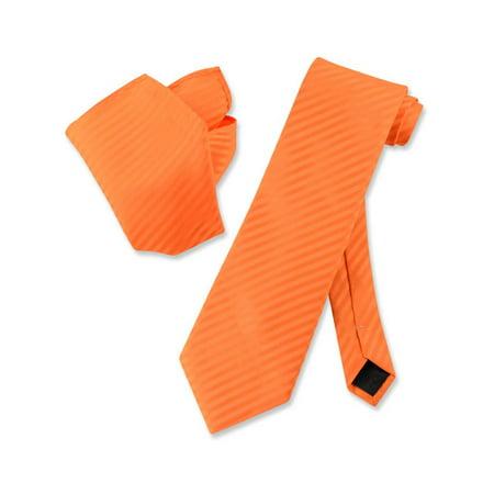 Vesuvio Napoli ORANGE Striped NeckTie & Handkerchief Matching Men's Neck Tie Set - Orange Striped Team Colors
