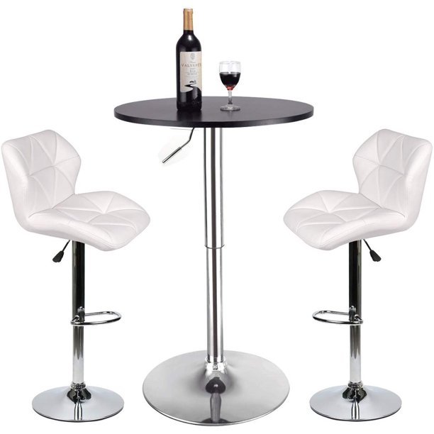 ELECWISH 3 Pieces White Barstool and Pub Table Set Adjustable Height Swivel Black Wood Round Table and Padded PU Leather Bar Chair Dining Set