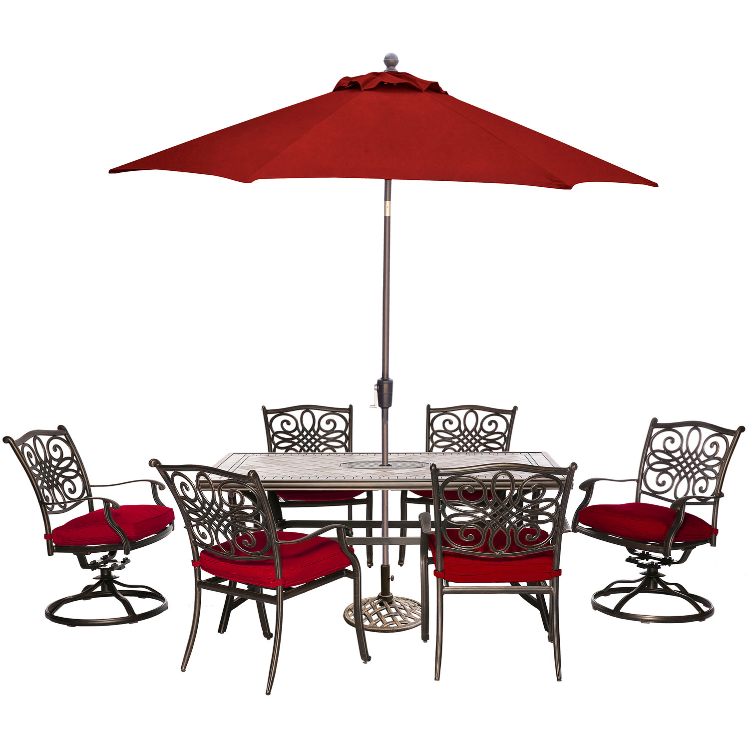 Hanover Monaco 7-Piece Patio Dining Set in Red with 4 ...