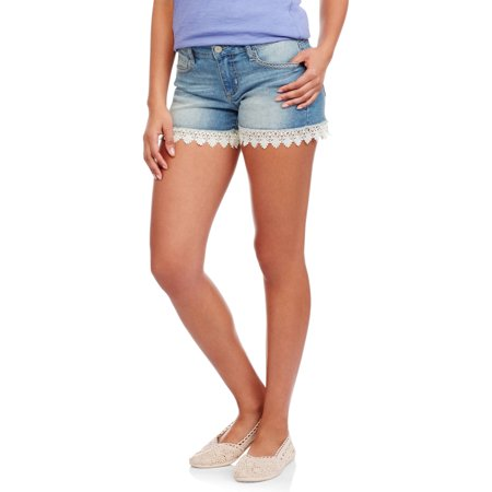 L.E.I. Juniors' Crochet Hem Denim Shorts