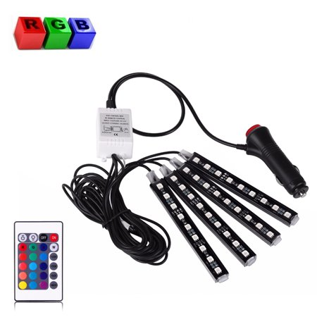 EEEKit 4 Piece 16 Colors Car Interior Light Strips, 9LED Waterproof Neon Decoration Lamp, Control Wireless Interior Atmo ()